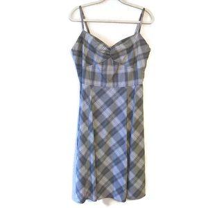GAP Black Gray Plaid Midi Dress plus size 14